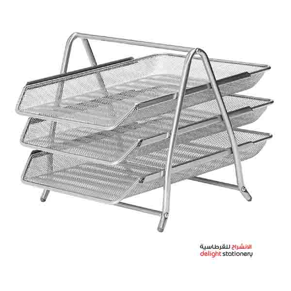 Deluxe metal mesh 3 tier office tray, silver (a102-03)