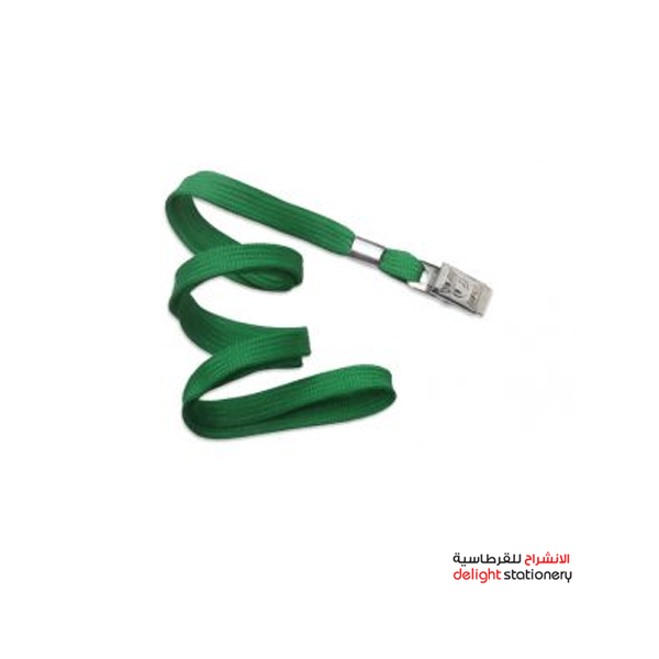 Metal clip card holder lanyard neck strap green modest ms1081