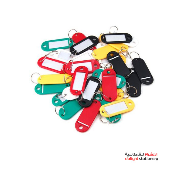Modest key tags plastic assorted colors (box/100pc)